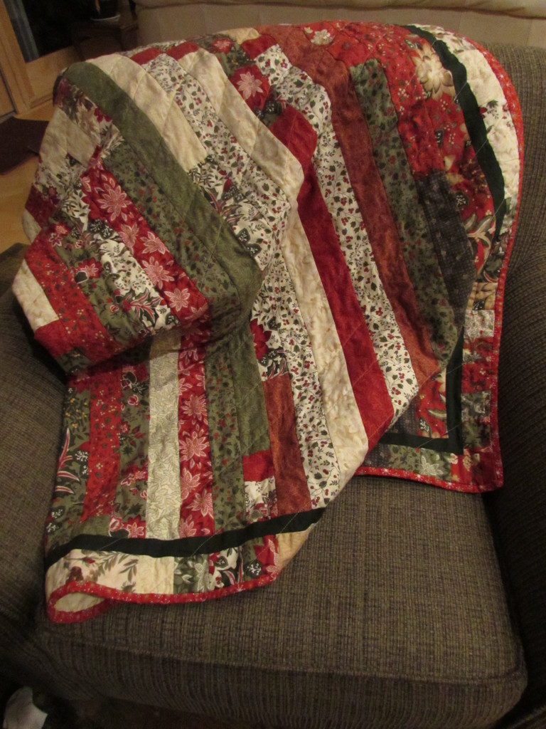 Christmas Quilt, Jelly Roll, for Mom and Dad; December 2014