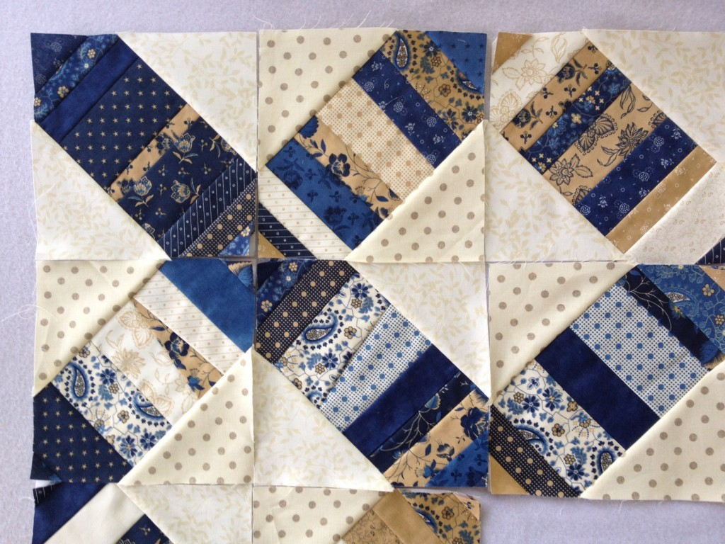blue tan quilt blocks
