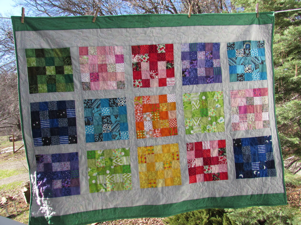 Rainbow Scrap Challenge 2014 Quilt; Finished January, 2015
