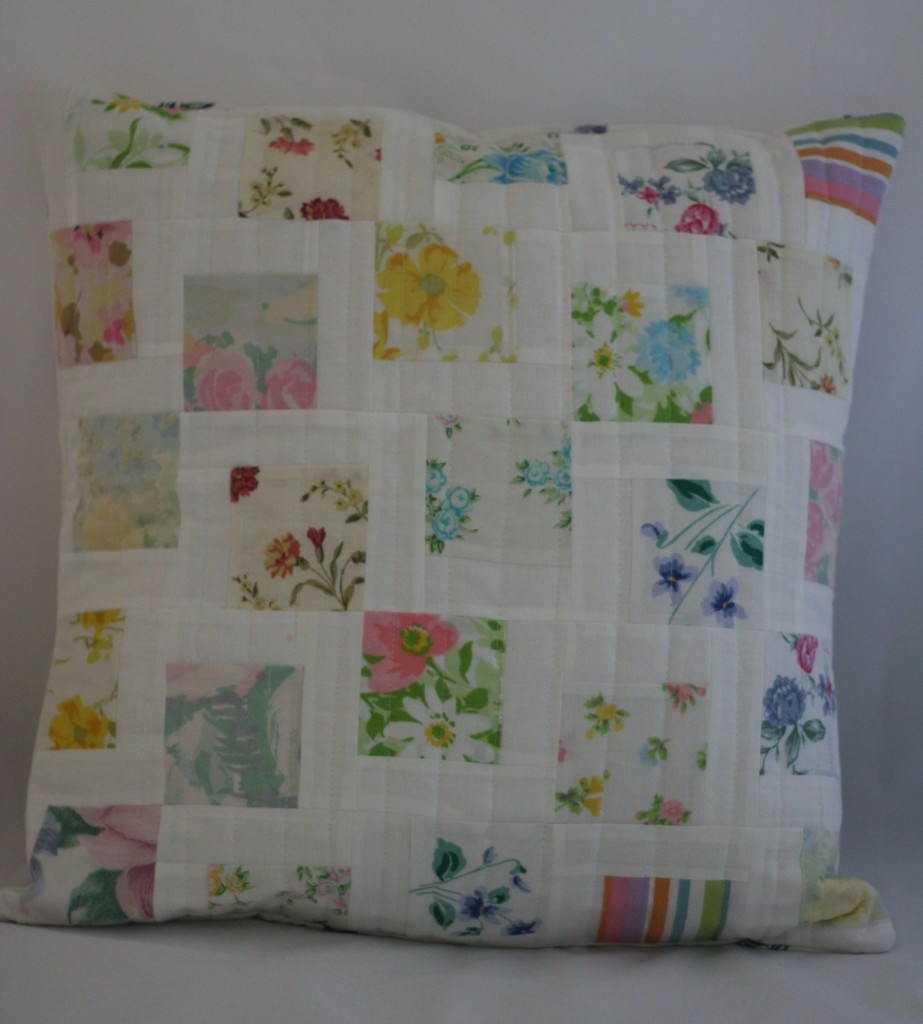 Scattered Squares Pillow with Vintage Linens April, 2015