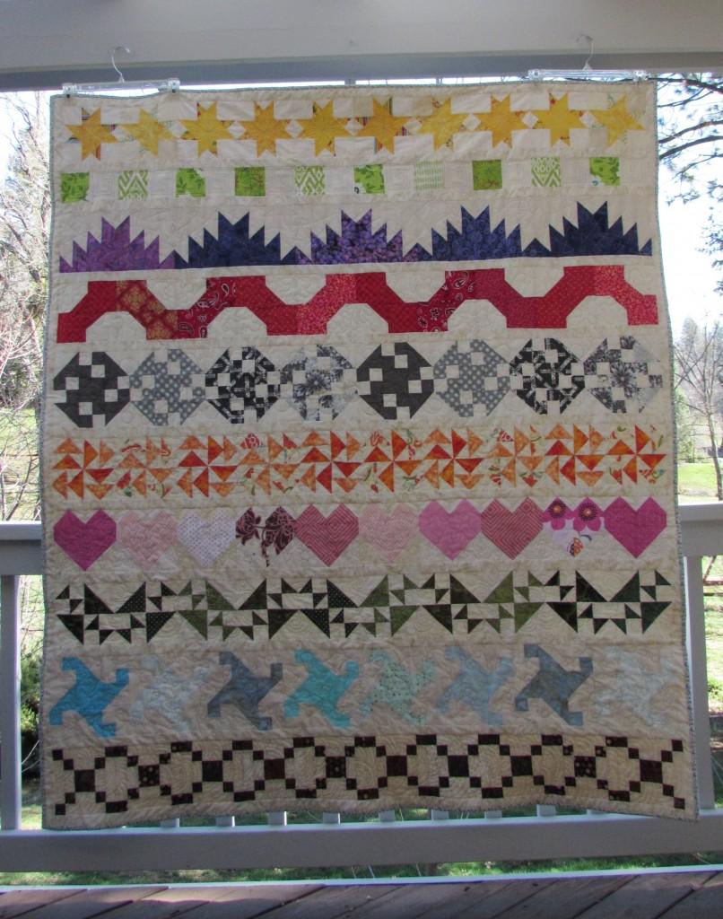Rainbow Scrap Row Quilt, February 2016